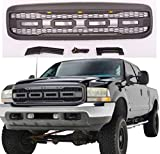 iSUNLIT Front Grille Grill for 1999-2004 Ford F-250 Raptor Style Mesh with 3 Amber Led Lights & Logo Letters & Harness, Black