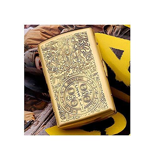 CLJ-LJ Pack de 12 Cajas de Cigarrillos, Ultra-Delgado Metal Caso de Cigarrillos, Personalidad Creativa Caso de Cigarrillos de los Hombres, cálido y rollizo (Color: Oro, Tamaño: 9.3 * 5.6 * 1.9cm)