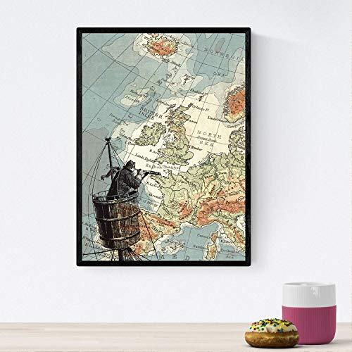 Nacnic Poster de Marinero con catalejo. Láminas de mapas del mundo. Decoración con mapas e imágenes vintage. Tamaño A4