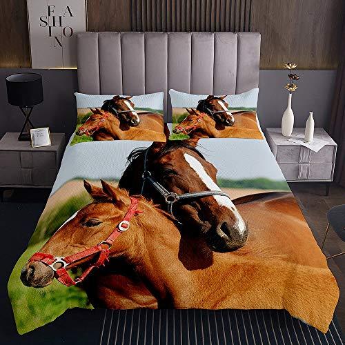 Horse Bedding Set, 3D Print Western Cowboy Coverlet Set King Size for Kids Girls Boys, Animal Design Comforter Set, Soft Lightweight Bedding Duvet Cover Bedroom Living Room Decor