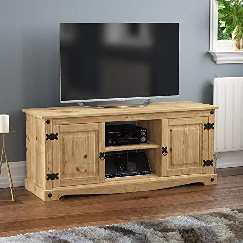 Vida Designs Corona TV Cabinet, Flat Screen Unit, 2 Door 1 Shelf, TV Entertainment Stand, Solid Pine Wood
