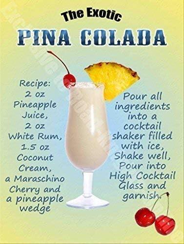 Piña Colada Bebidas Cóctel Receta, Vino Bar Pub Hotel 53 Metal/Cartel De Acero Para Pared - acero, 9 x 6.5 cm (Magnético)