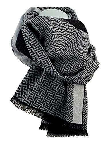 Pietro Baldini Pregiata sciarpa di seta da uomo double-face grigio e nero Greeks Taglia...