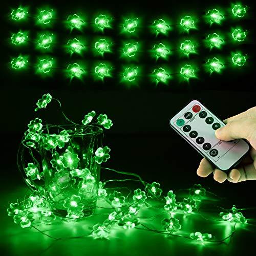 Xruison Cadena de Luz LED Guirnalda Luces 14.7ft 45 LED Trébol de cuatro hojas Lámpara 8 Modos para St. Patricks Day Fiesta Decoración Navidad San Valentín Boda