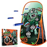 RONSTONE Shooting Practice Target Compatible with Nerf Gun for Boys Girls, Toy Foam Blaster Shooting Targets for Kids Indoor Outdoor, Zombie Shooting Target with Storage Net