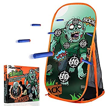 RONSTONE Shooting Practice Target Compatible with Nerf Gun for Boys Girls Toy Foam Blaster Shooting Targets for Kids Indoor Outdoor Zombie Shooting Target with Storage Net