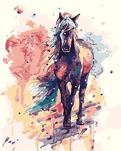 New Paint by Number Kit - Colorato Cavallo 16x20 pollici Tela Canvas Paintworks - Pittura a olio digitale Kit di tela per adulti Bambini Decorazioni per bambini Regali di Natale (No Frame, 340)