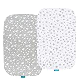 Bassinet Fitted Sheets Compatible with Baby Delight Beside Me Dreamer Bassinet, 2 Pack, 100% Jersey Knit Cotton Fitted Sheets, Breathable and Heavenly Soft, Grey and White Print for Baby
