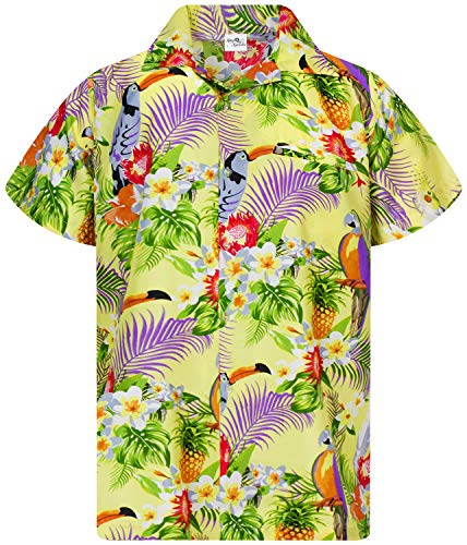 King Kameha Funky Camicia Hawaiana, Manica Corta, Parrot Cockatoo, Giallo Chiaro, L