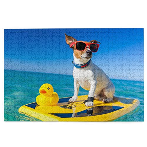 Blived Rompecabezas de 1000 Piezas,Rompecabezas de imágenes,Perro surfeando en Tablas de Surf con Gafas de Sol,Juguetes Puzzle for Adultos niños Interesante Juego Juguete Decoración para El Hogar