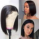 ALI RAIN Bob Lace Front Wigs Human Hair Pre Plucked Brazilian Virgin Human Hair Lace Front Wigs 150% Density Straight Bob Wig Human Hair Wigs for Black Women (12 inch)