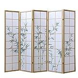 Homestyle4u 266, Paravent Raumteiler 5 teilig, Holz Natur, Reispapier Weiß, Bambus Motiv Grün