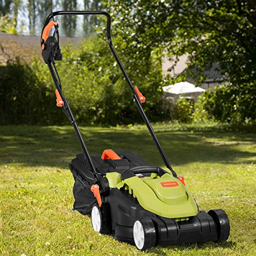 Goplus Electric Lawn Mower, 14-inch Corded Grass Cutting Machine with Detachable Grass Collection Bag Folding Handle, 12AMP (Green)