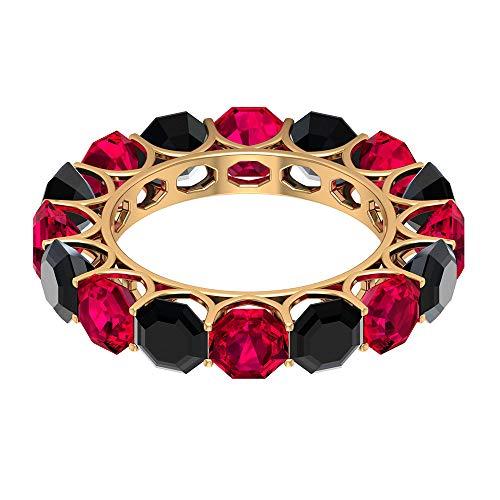 Anillo alternativo relleno de cristal de rubí de 5,2 quilates, anillo de espinela negra de 4,8 quilates, anillo de boda de piedras preciosas, 18K Oro amarillo, Size:EU 45