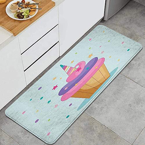 VAMIX Tappeto da Cucina,CupcakeTorta di unicorno con corno di fata arcobaleno sopra con stelle e pois Fantasia decorativa per ragazze,antiscivolo passatoia da cucina zerbino tappetino per il bagno