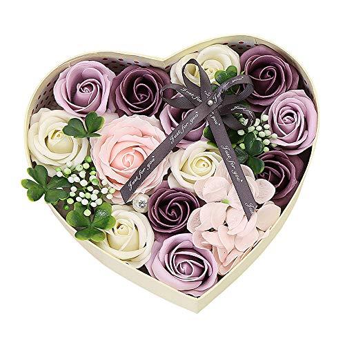 Gobesty Caja de Flores Color de Rosa, Caja de Regalo de Flor de jabón Rosa, Caja de Regalo de jabón Rosa con Tarjeta Regalo para el día de San Valentín, Regalos de cumpleaños creativos (Púrpura)