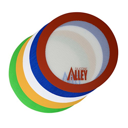Non-stick Mat Pad [5 Fun Colors] - Silicone Rolling Baking Pastry Placemat Large Round 9.5' - (Value Pack - Set of 5)