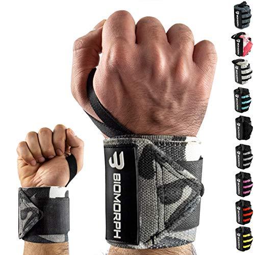 BIOMORPH Profi Handgelenk Bandagen [Wrist Wrap] 54cm für Fitness, Bodybuilding, Kraftsport & Crossfit I Handgelenkbandage flexibel einstellbar I Wrist Wraps für Frauen & Männer (White Camo)