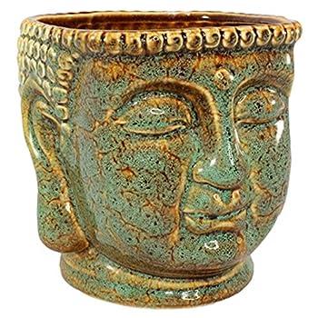 Ceramic Buddha Head Planter Pot Zen Succulent Plant Pot Pen Holder Pencil Cup Brush Holder Pot Remote Controller Holder Desk Organizer Home Office Room Decor Multi-use 4.5x5.5x4.75 h  Jade/Brown