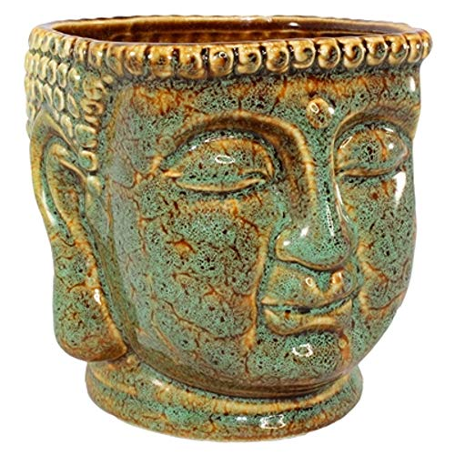 Ceramic Buddha Head Planter Pot Zen Succulent Plant Pot Pen Holder Pencil Cup Brush Holder Pot Remote Controller Holder Desk Organizer Home Office Room Decor Multi-use 4.5x5.5x4.75'h (Jade/Brown)