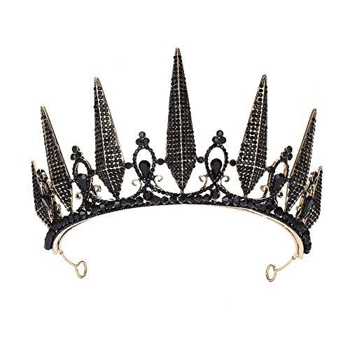 S SNUOY Black Rhinestone Tiara Baroque Crown Wedding Headpiece Costume Party Accessories for Women