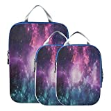 3 Piece Packing Travel Organizer Cubes Set Universe Galaxy Nebula Cloud Starry Space Suitcase...