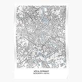 City Art of Koln Town Carography Carte Map Germany Das