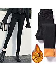 Women's Winter Fleece Lined Jeans, Warm Slim High Waist Stretchy Cashmere Thermal Jeans,Distressed Butt Lifting Skinny Jeans,High Waist Tummy Control Tights Pants