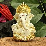 CraftVatika Gold Plated Terracotta Lord Ganesha Figurine for Car Dashboard Ganesh Statue Ganpati Gifts Home Office Decor (Size: 3.5 x 2 inches)