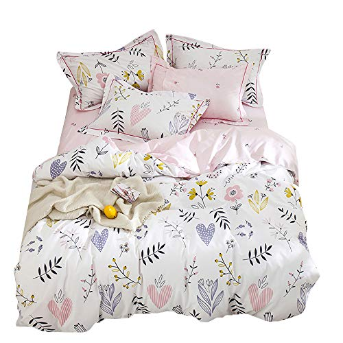 HIGHBUY Girls Duvet Cover Twin Floral Bedding Sets White Pink Premium Cotton Teens Flower Bedding...