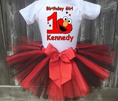 Elmo Black and Red Personalized Birthday Outfit Tutu Set