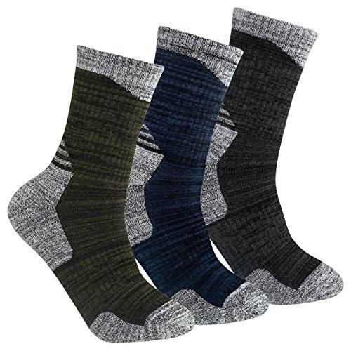 YUEDGE 3 Pairs Men s Cushion Crew Socks Outdoor Recreation Multi Performance Trekking Climbing Backpacking Hiking Socks (XL(Men Shoe 9.5-12.5 UK Size), Olive Green Blue Gray)