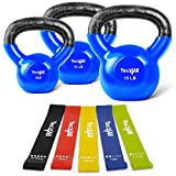 Yes4All Kettlebell Weights/Kettlebell Set - 5 10 15 lbs Vinyl Coated Kettlebell and Resistance Loop...