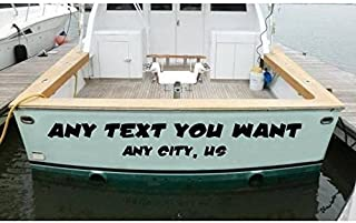 StickerLoaf Brand CUSTOM BOAT NAME DECAL Personalized Boating Sticker Luxury Yacht Kayak Canoe Airboat Skiff John Boat Seadoo Watercraft Stickers