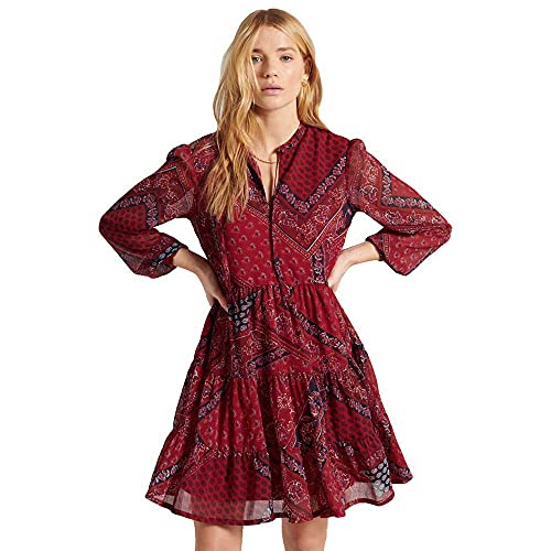 Superdry Tie Shirt Dress Vestito Casual, Red Paisley Scarf, 14 Donna