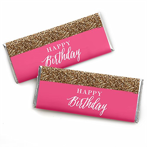 Chic Happy Birthday - Pink and Gold - Candy Bar Wrappers Birthday Party Favors - Set of 24