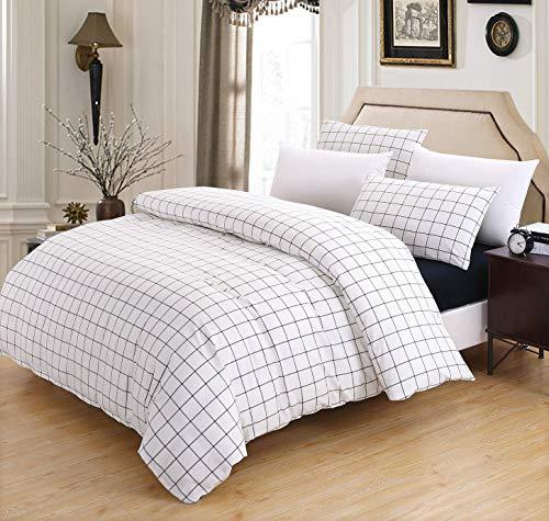 Luofanfei Baumwolle Bettwäsche Weiß Kariert King Size 220 x 240 cm 3 Teilig Bettbezug Uni Grau mit Reißverschluss und 4 Eckschleifen