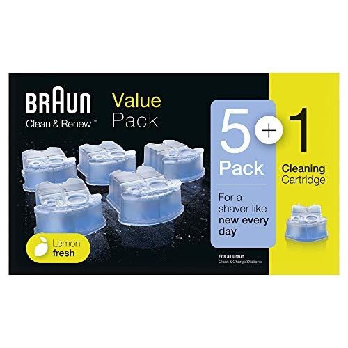 Braun Clean & Charge Cartucce di Ricarica per Rasoio da Barba Elettrico, Compatibili con tutte le Stazioni Braun SmartCare e Clean & Charge, 5+1 Confezioni