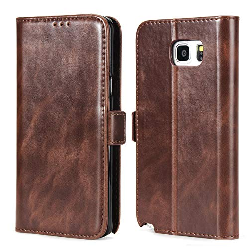 Galaxy Note 5 Wallet Case,Phone Case for Galaxy Note 5,CSTM Premium Vegan Leather Folio Flip Protective Shell Cover with Kickstand,Credit Slots and Magnetic Closure for Samsung Galaxy Note 5 (Coffee)