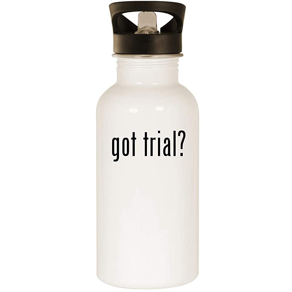 got trial? - Stainless Steel 20oz Road Ready Water Bottle, White