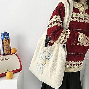 Mdsfe Bolso de Hombro de Tela de Cordero para Mujer Bolso de Lona Simple Bolso de Compras de Bordado de Gran Capacidad Bolsos de Libros Lindos para niñas - Beige