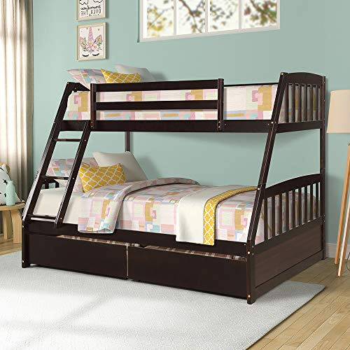 Twin Over Full Bunk Beds, Rockjame Solid Wood Bed Frame with 2 Storage Drawers, Safety Guard Rail, Removable Ladder and Strong Slat Support, Easy Assembly, Perfect for Kids and Young Teens (Espresso)