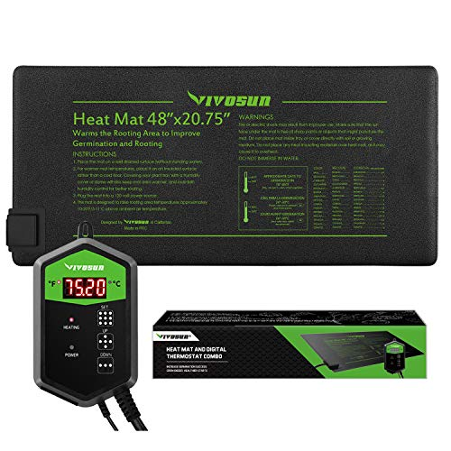 VIVOSUN 48quotx2075quot Seedling Heat Mat and Digital Thermostat Combo Set