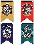 Lot de 4 drapeaux muraux Harry Potter de la maison de Poudlard, super qualité supérieure pour intérieur ou extérieur, décoration de fête, thème Gryffondor, Serpentard, Poufsouffle(76,2 x 127 cm)