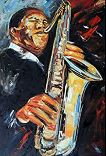 100% Hand Painted Alto Saxophone Player Portrait Horn Brass Musician Canvas Oil Painting for Home Wall Art by Well Known Artist, Framed, Ready to Hang