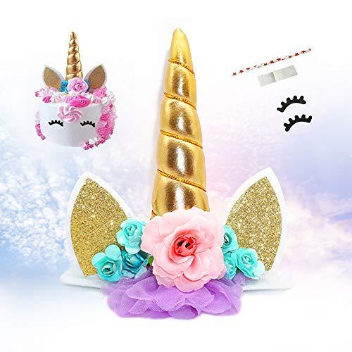 VCOSTORE Einhorn Kuchen Topper, Einhorn Kuchen Dekoration mit Wimpern für Geburtstagsfeier Hochzeits Babyparty
