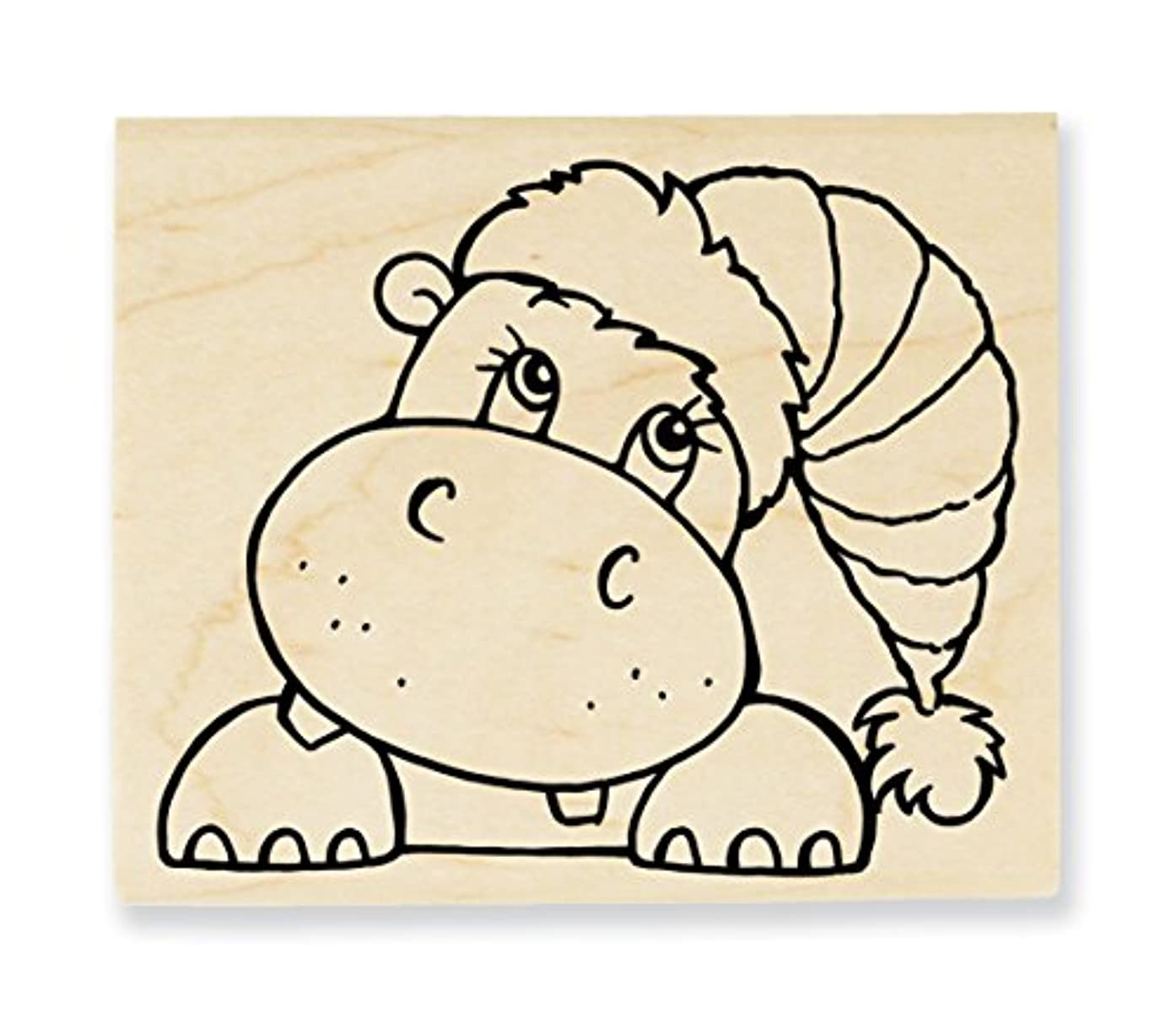 Stampendous Wood Stamp, Hippo Holiday