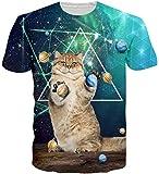 Loveternal Unisex T-Shirt Galaxy Katze 3D Muster Gedruckt Lustige Casual Grafik Kurzarm Tops Tees M
