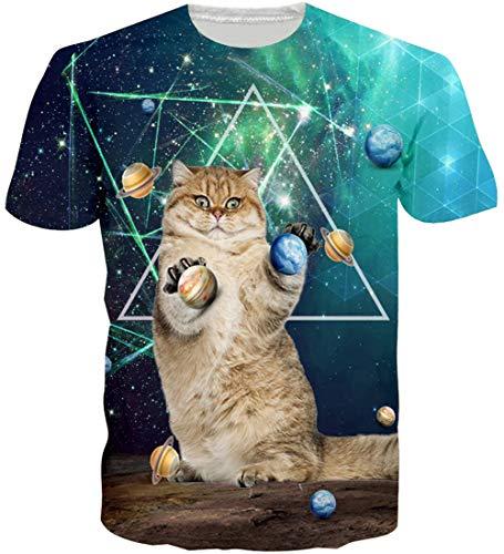 Loveternal T-Shirt Galaxy Katze 3D Muster Gedruckt Casual Grafik Kurzarm Tops Tees für Frauen Männer L