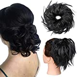 Hair Bun Hair Piece Messy Bun Hair Extension Updo Hairpieces Fluffy Tousled Scrunchy Synthetic Scrunchies Wavy Up Do Black Donut Wrap On Chignons Stretchy Elastic Ponytail For Women 45g #1